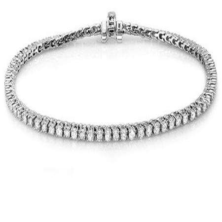 12.00 Carat (ctw) 18K White Gold Round Cut Real Diamond Ladies Tennis Bracelet 12 CT