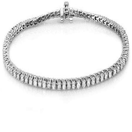 15.00 Carat (ctw) 18K White Gold Round Cut Real Diamond Ladies Tennis Bracelet 15 CT