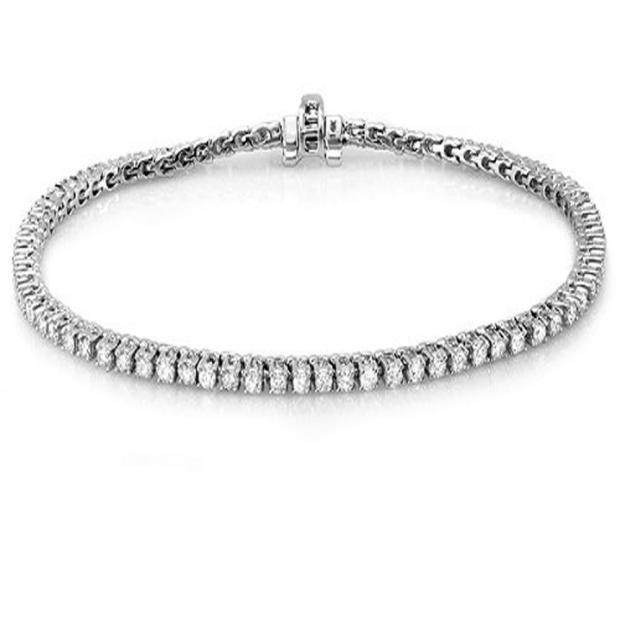 7.00 Carat (ctw) 18K White Gold Round Cut Real Diamond Ladies Tennis Bracelet 7 CT