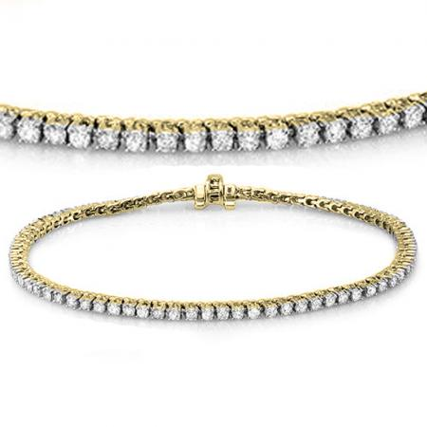1.50 Carat (ctw) 18K Yellow Gold Round Cut Real Diamond Ladies Tennis Bracelet 1 1/2 CT