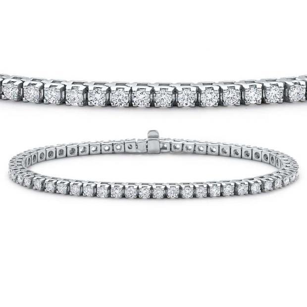 7.00 Carat (ctw) 14K White Gold Round Cut Real Diamond Ladies Tennis Bracelet 7 CT
