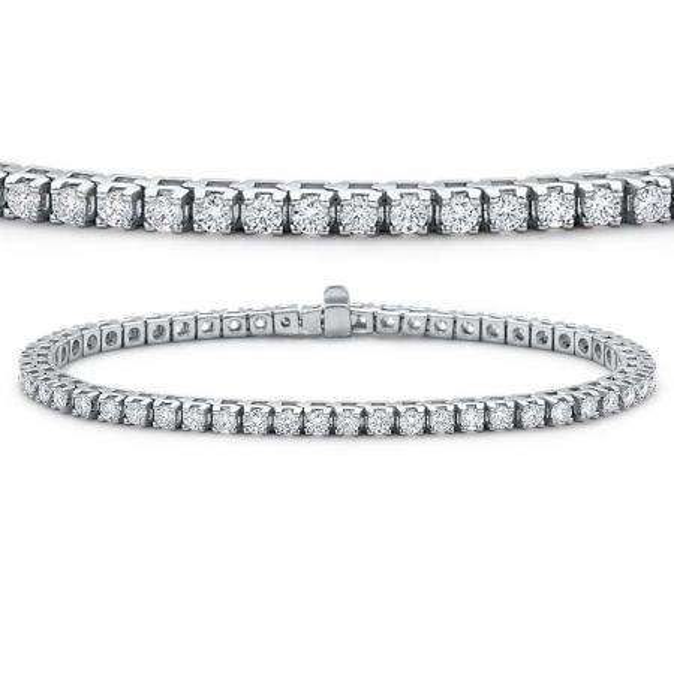 8.00 Carat (ctw) 14K White Gold Round Cut Real Diamond Ladies Tennis Bracelet 8 CT