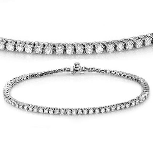 1.50 Carat (ctw) 14K White Gold Round Cut Real Diamond Ladies Tennis Bracelet 1 1/2 CT