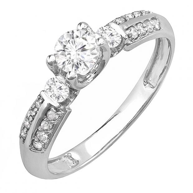 0.55 Carat (ctw) 14k White Gold Round Diamond Ladies 3 Stone Bridal Unique Engagement Ring 1/2 CT