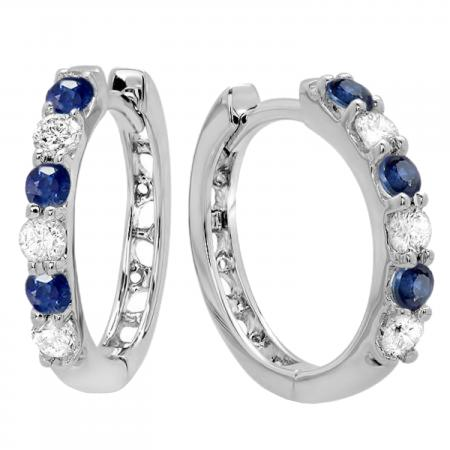 0.33 Carat (ctw) 18k White Gold Round Diamond Ladies Huggies Hoop Earrings 1/3 CT