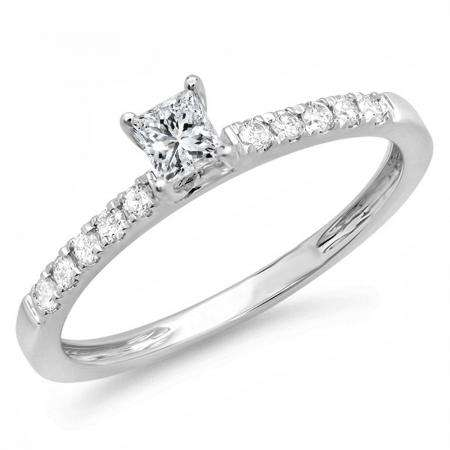 0.45 Carat (ctw) 14k White Gold Princess and Round Diamond Ladies Solitaire With Accents Bridal Engagement Ring 1/2 CT
