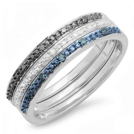 0.10 Carat (ctw) Sterling Silver Round Black Blue and White Real Diamond Wedding Anniversary Stackable Band 3 pcs Ring Set 1/10 CT