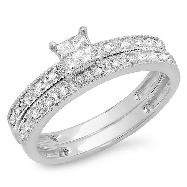 0.30 Carat (ctw) 10k White Gold Princess & Round Diamond Ladies Bridal Engagement Ring Wedding Set with Matching Band 1/3 CT