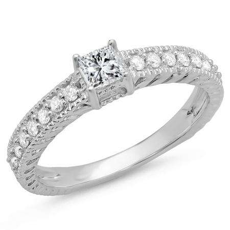 0.50 Carat (ctw) 14k White Gold Princess and Round Diamond Ladies Solitaire With Accents Bridal Engagement Ring 1/2 CT