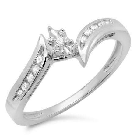 0.10 Carat (ctw) 10k White Gold Round Diamond Ladies Bridal Marquise Shaped Bypass Engagement Promise Ring 1/10 CT