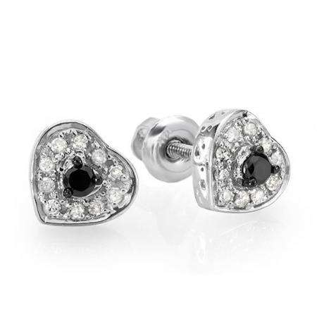 0.25 Carat (ctw) Sterling Silver Round Cut Black & White Diamond Ladies Heart Shaped Stud Earrings 1/4 CT