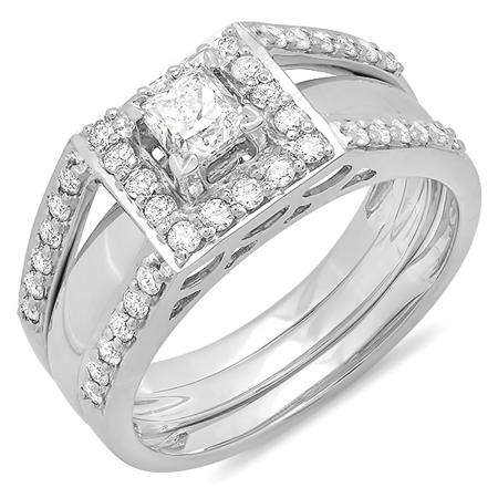 1.00 Carat (ctw) 14k White Gold Princess and Round Cut Diamond Ladies Bridal Halo Style Engagement Ring Set With Matching Band 1 CT