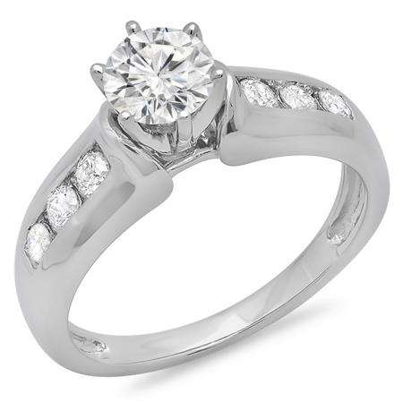 1.00 Carat (ctw) 10K White Gold Round Cut Diamond Ladies Bridal Solitaire With Accents Engagement Ring 1 CT