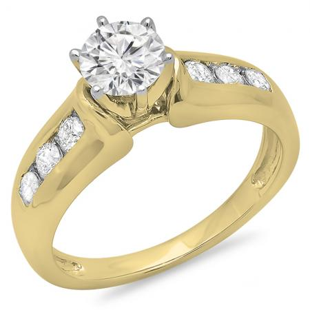 1.00 Carat (ctw) 10K Yellow Gold Round Cut Diamond Ladies Bridal Solitaire With Accents Engagement Ring 1 CT