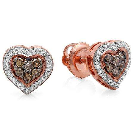 0.30 Carat (ctw) 14K Rose Gold Round White & Champagne Diamond Ladies Cluster Heart Shaped Stud Earrings 1/3 CT