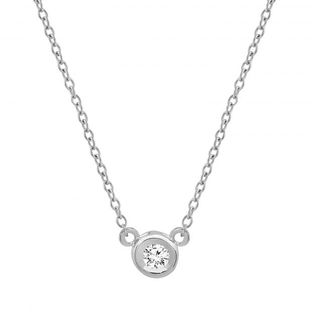 0.05 Carat (ctw) 10k White Gold Round Diamond Ladies Bezel Set Solitaire Pendant 1/20 CT