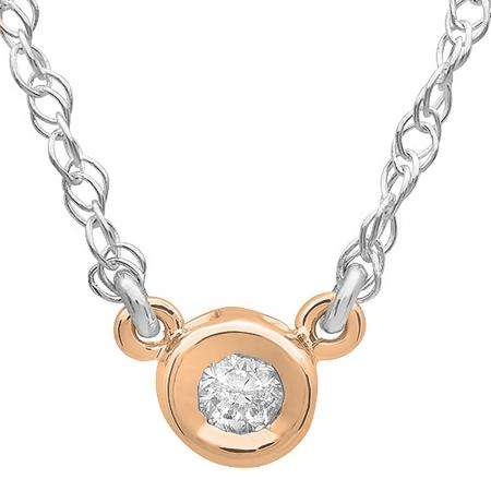 0.25 Carat (ctw) 14K Rose Gold Round Diamond Ladies Bezel Set Solitaire Pendant 1/4 CT