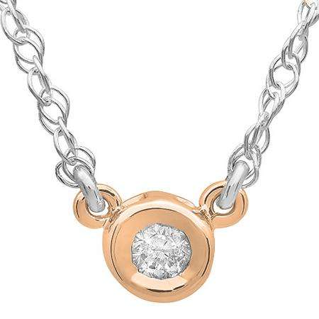 0.33 Carat (ctw) 14K Rose Gold Round Diamond Ladies Bezel Set Solitaire Pendant 1/3 CT