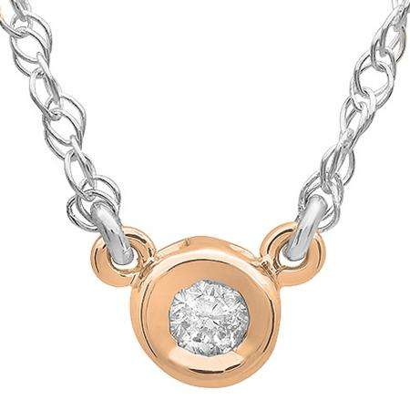 0.50 Carat (ctw) 14K Rose Gold Round Diamond Ladies Bezel Set Solitaire Pendant 1/2 CT