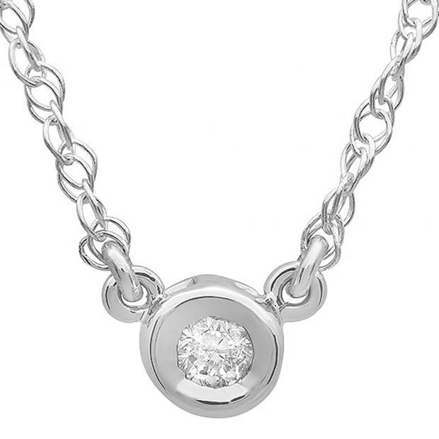 0.25 Carat (ctw) 14K White Gold Round Diamond Ladies Bezel Set Solitaire Pendant 1/4 CT