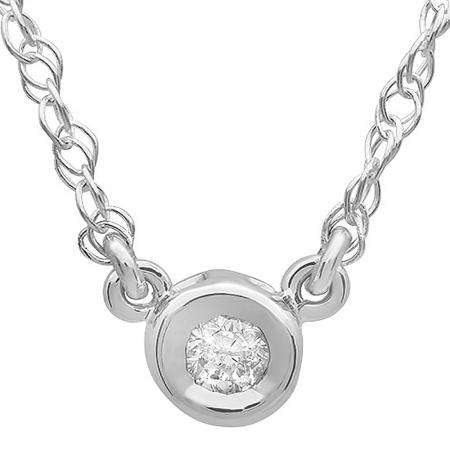 0.33 Carat (ctw) 14K White Gold Round Diamond Ladies Bezel Set Solitaire Pendant 1/3 CT