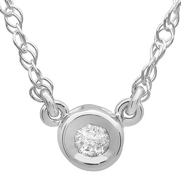 0.50 Carat (ctw) 14K White Gold Round Diamond Ladies Bezel Set Solitaire Pendant 1/2 CT