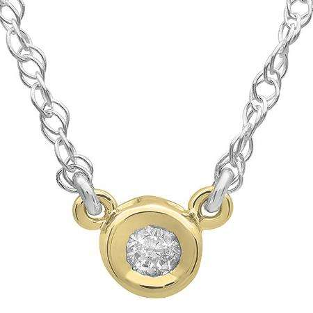 0.25 Carat (ctw) 14K Yellow Gold Round Diamond Ladies Bezel Set Solitaire Pendant 1/4 CT