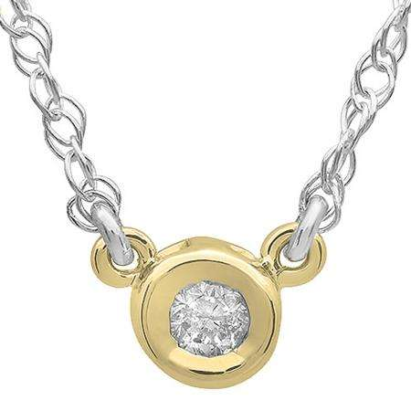 0.50 Carat (ctw) 14K Yellow Gold Round Diamond Ladies Bezel Set Solitaire Pendant 1/2 CT