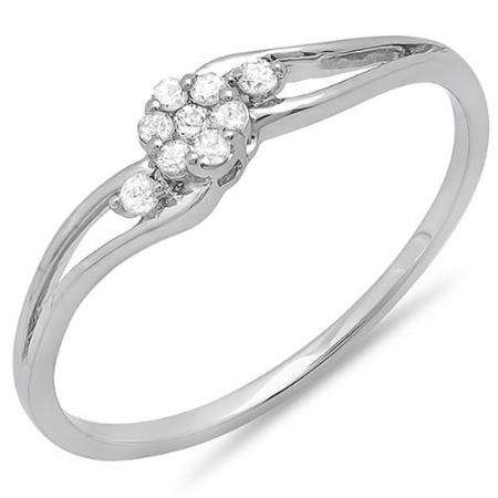 0.10 Carat (ctw) 10k White Gold Round Diamond Ladies Bridal Swirl Split Shank Cluster Promise Ring 1/10 CT