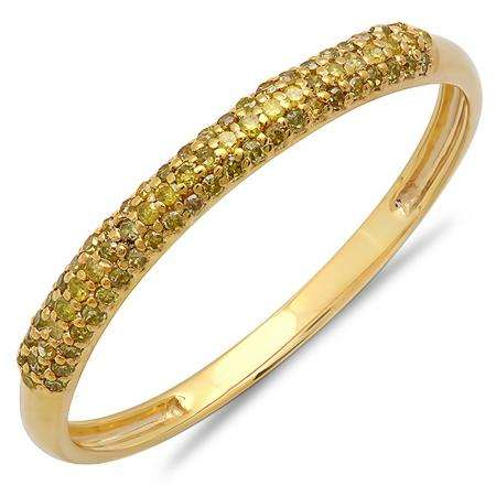0.20 Carat (ctw) 14k Yellow Gold Round Yellow Diamond Ladies Bridal Anniversary Wedding Band Stackable Ring 1/5 CT