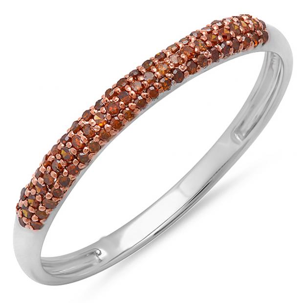 0.20 Carat (ctw) 18k White Gold Round Red Diamond Ladies Bridal Anniversary Wedding Band Stackable Ring 1/5 CT