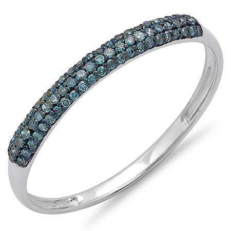 0.20 Carat (ctw) 10k White Gold Round Blue Diamond Ladies Bridal Anniversary Wedding Band Stackable Ring 1/5 CT