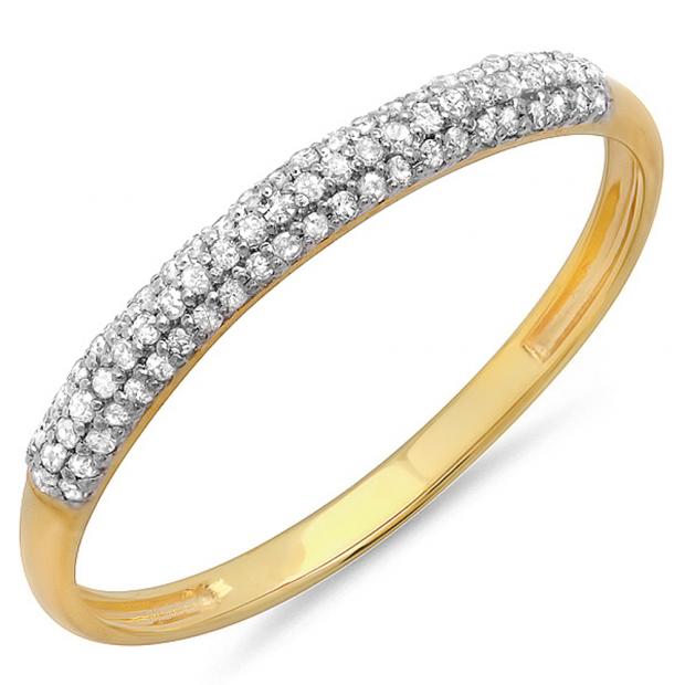 0.20 Carat (ctw) 18k Yellow Gold Round Diamond Ladies Bridal Anniversary Wedding Band Stackable Ring 1/5 CT