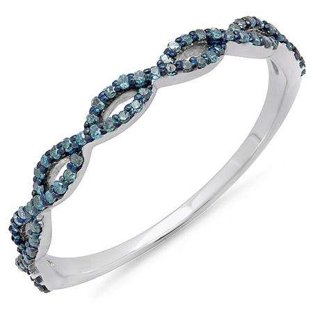 0.20 Carat (ctw) 18K White Gold Round Blue Diamond Ladies Swirl Anniversary Wedding Band Stackable Ring 1/5 CT