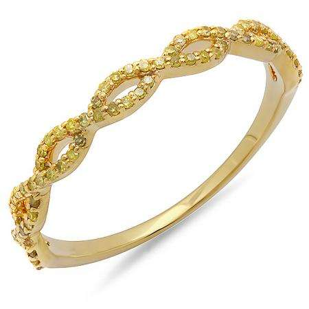 0.20 Carat (ctw) 18K Yellow Gold Round Yellow Diamond Ladies Swirl Anniversary Wedding Band Stackable Ring 1/5 CT