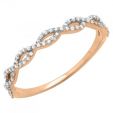 0.20 Carat (ctw) 10K Rose Gold Round Diamond Ladies Swirl Anniversary Wedding Band Stackable Ring 1/5 CT
