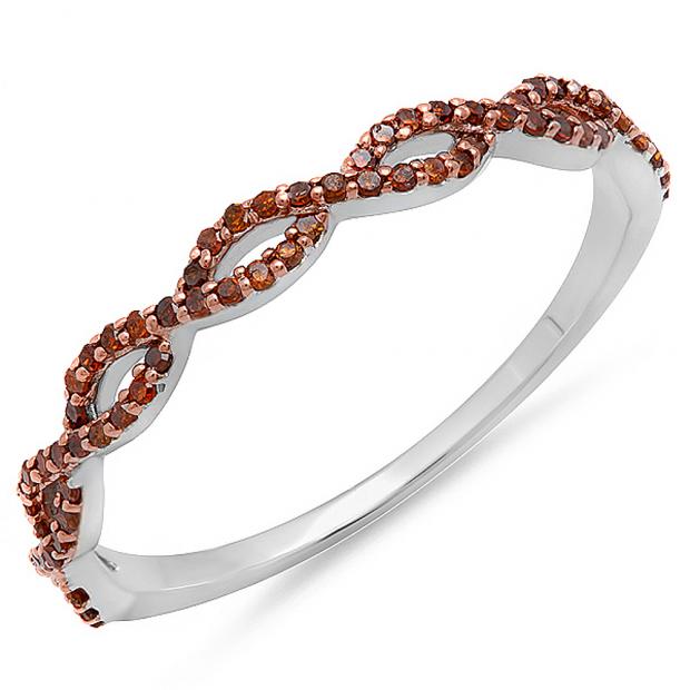 0.20 Carat (ctw) 10K White Gold Round Red Diamond Ladies Swirl Anniversary Wedding Band Stackable Ring 1/5 CT