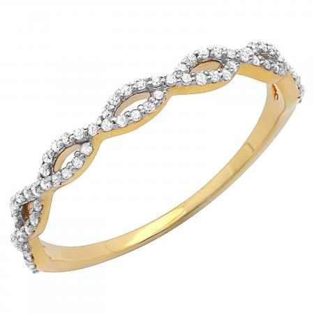0.20 Carat (ctw) 10K Yellow Gold Round Diamond Ladies Swirl Anniversary Wedding Band Stackable Ring 1/5 CT