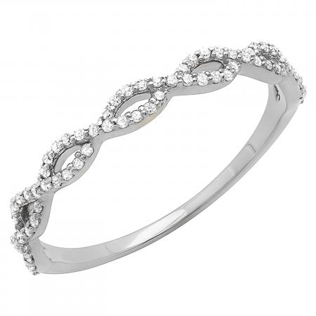 0.20 Carat (ctw) 10K White Gold Round Diamond Ladies Swirl Anniversary Wedding Band Stackable Ring 1/5 CT