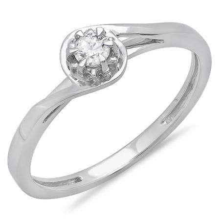 0.12 Carat (ctw) 10K White Gold Round Cut Diamond Ladies Twisted Style Solitaire Bridal Promise Ring