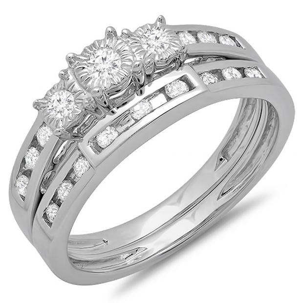 0.40 Carat (ctw) 10k White Gold Round Diamond Ladies 3 Stone Bridal Engagement Ring Set