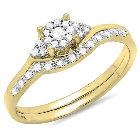 0.25 Carat (ctw) 10k Yellow Gold Round Diamond Ladies Halo Style Bridal Engagement Ring Set With Matching Band 1/4 CT