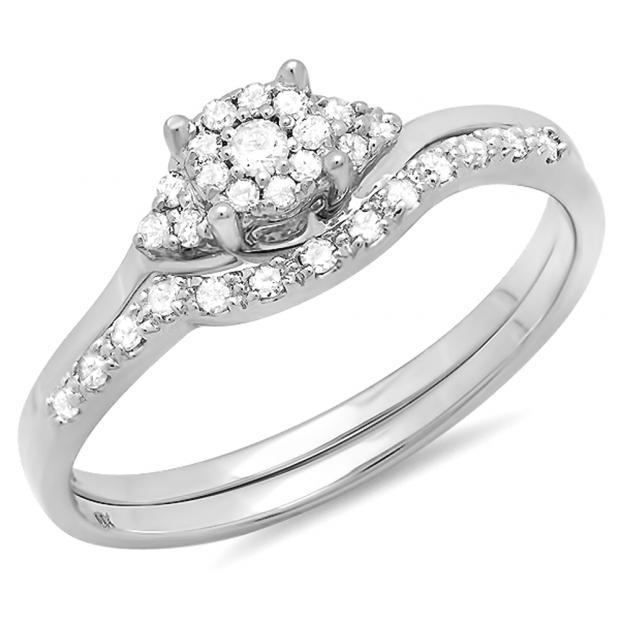 0.25 Carat (ctw) 10k White Gold Round Diamond Ladies Halo Style Bridal Engagement Ring Set With Matching Band 1/4 CT