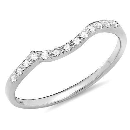 0.10 Carat (ctw) 10K White Gold Round Cut Diamond Ladies Anniversary Wedding Stackable Guard Band 1/10 CT