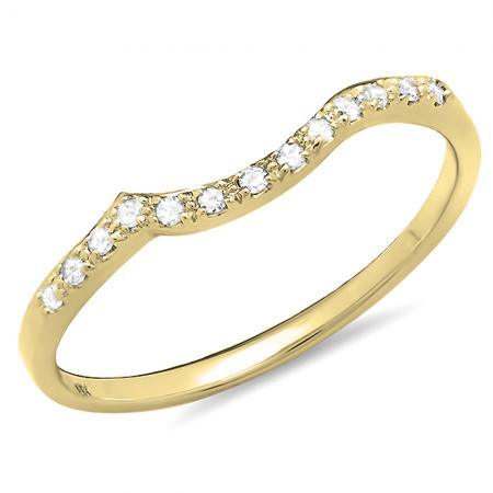 0.10 Carat (ctw) 14K Yellow Gold Round Cut Diamond Ladies Anniversary Wedding Stackable Guard Band 1/10 CT