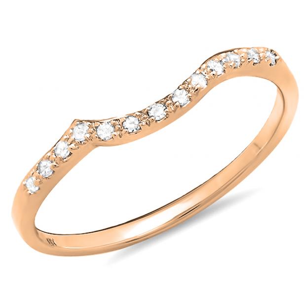 0.10 Carat (ctw) 18K Rose Gold Round Cut Diamond Ladies Anniversary Wedding Stackable Guard Band 1/10 CT