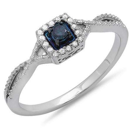 0.15 Carat (ctw) 10k White Gold Round Cut Blue and White Diamond Ladies Crossover Split Shank Engagement Bridal Promise Ring