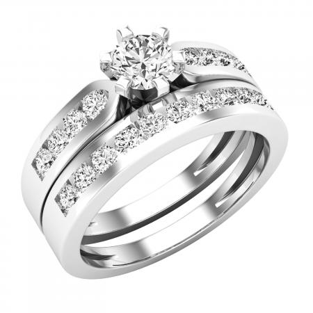 1.00 Carat (ctw) 10k White Gold Round Diamond Ladies Bridal Engagement Ring Set With Matching Band 1 CT