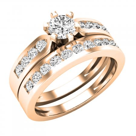 1.00 Carat (ctw) 18k Rose Gold Round Diamond Ladies Bridal Engagement Ring Set With Matching Band 1 CT