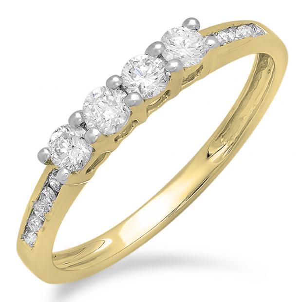 0.50 Carat (ctw) 10K Yellow Gold Round Diamond Ladies Bridal Anniversary Wedding Band Stackable Ring 1/2 CT